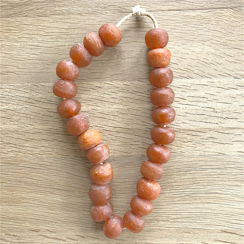 Large African Sea Glass Beads - Rust
