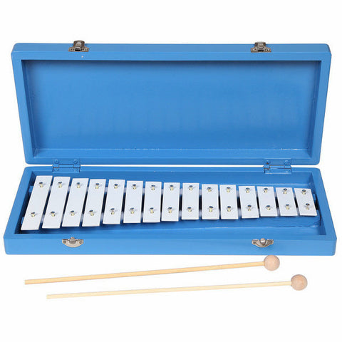 Handmade Wooden Blue Xylophone with Case