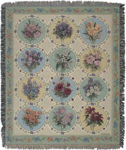 Butterfly Floral Tapestry Throw