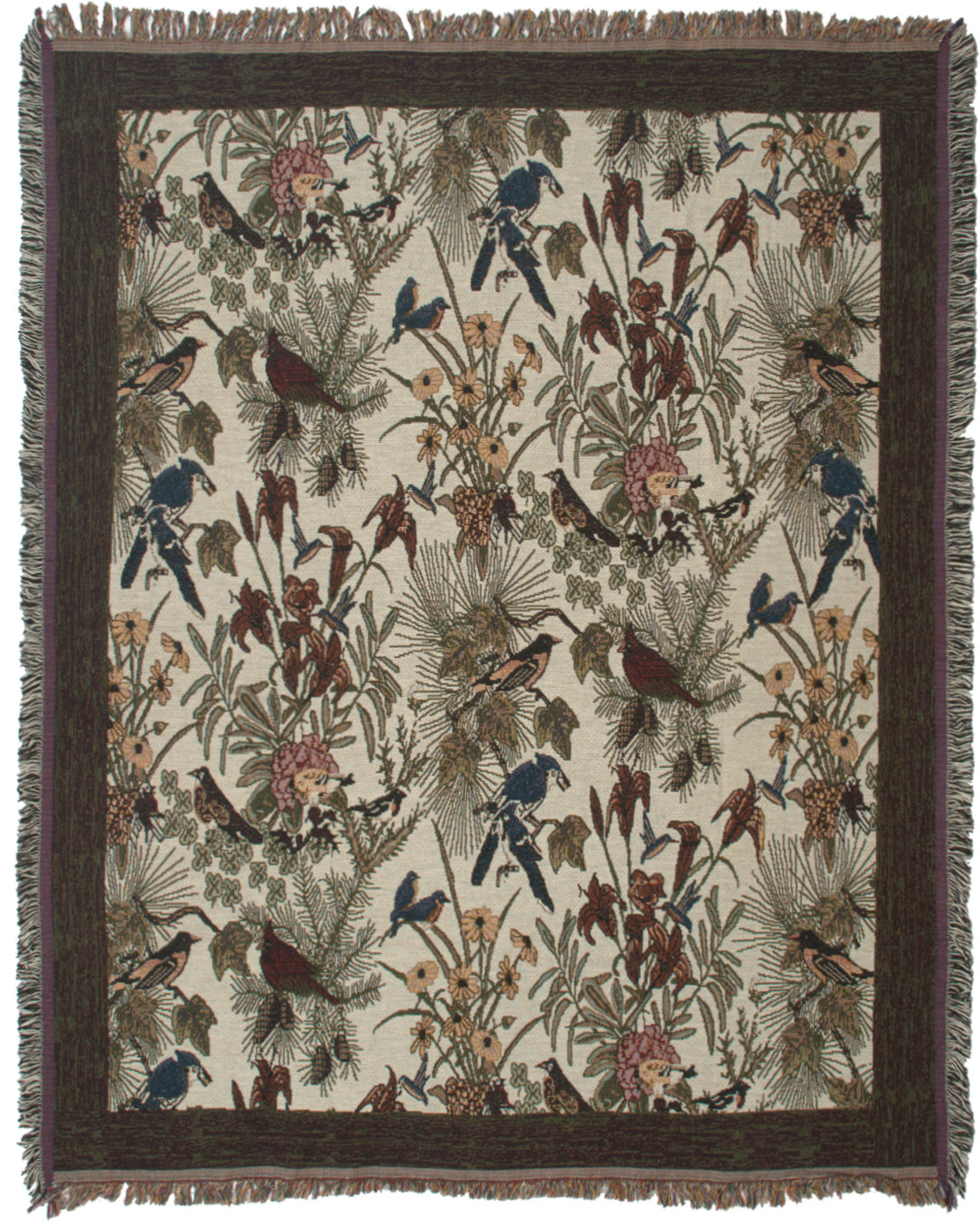 Birds with Flowers Tapestry Throw