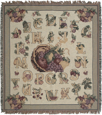 Alphabet Needlepoint Tapestry Throw