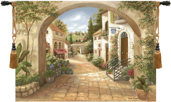Quaint Town Fine Art Tapestry