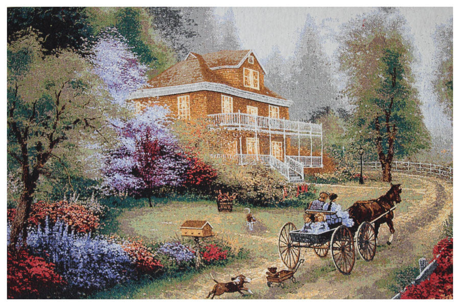 Carriage Drawn Stretched Wall Tapestry