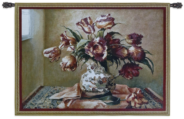 Tulips in Oriental Vase Tapestry Wall Hanging