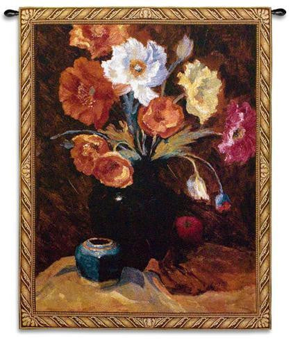 Poppies in Black Tapestry Wall Hanging