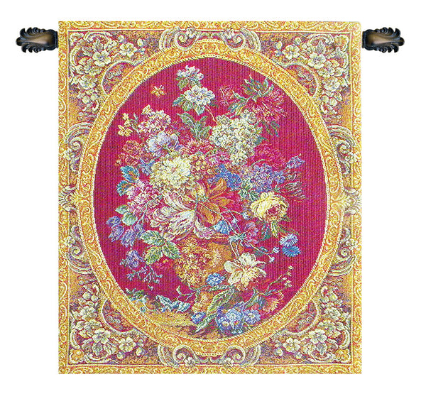 Floral Composition in Vase Burgundy Italian Tapestry Wallhanging