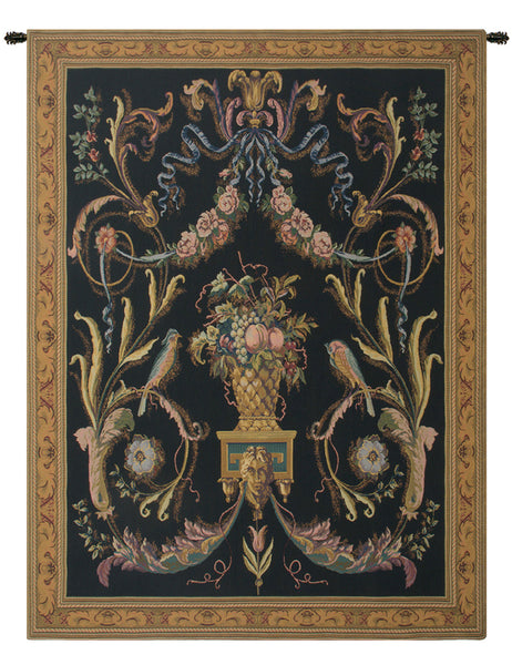 Birds Black Belgian Tapestry Wall Hanging