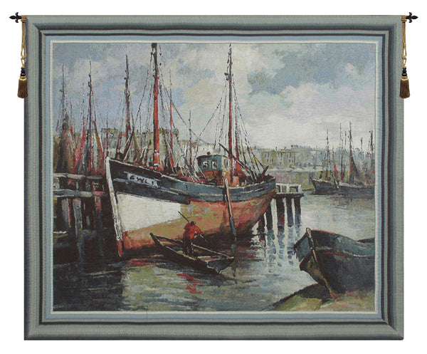 North Sea Harbour Belgian Tapestry Wall Hanging