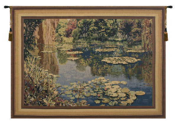Lake Giverny With Border Belgian Tapestry Wall Hanging