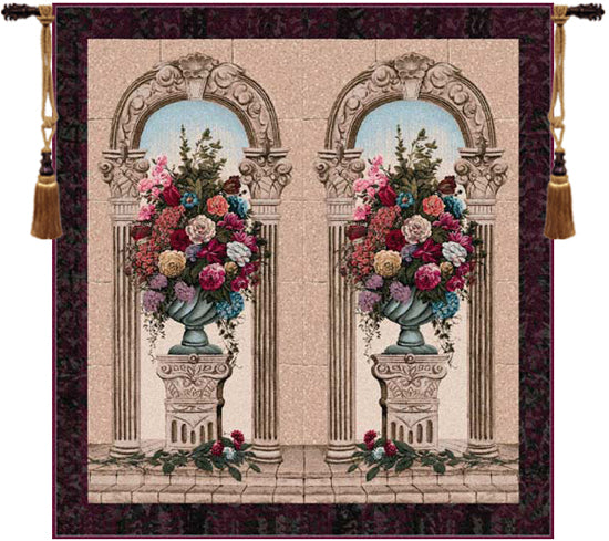 Floral Arch Duo Belgian Tapestry Wall Hanging