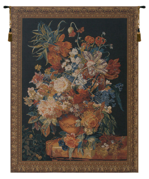 Terracotta Floral Bouquet Black Belgian Tapestry Wall Hanging