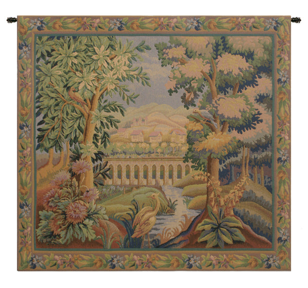 Bridge With Bird I Belgian Tapestry Wall Hanging