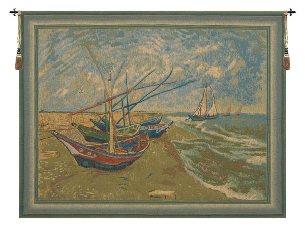 Van Goghs Fishing Boats Belgian Tapestry Wall Hanging