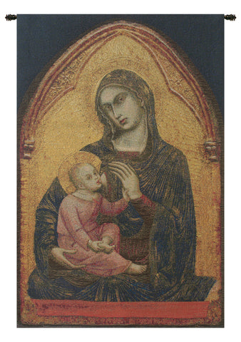Madonna en Or Belgian Tapestry Wall Hanging