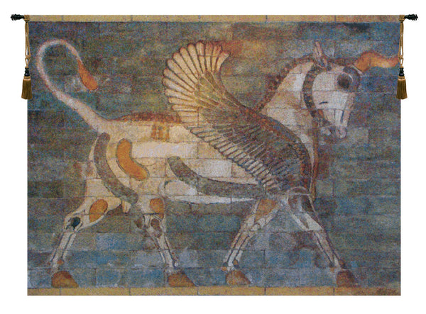 Winged Bull Belgian Tapestry Wall Hanging