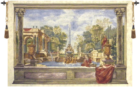 Italian Garden with Parrot Tapestry Wall Hanging