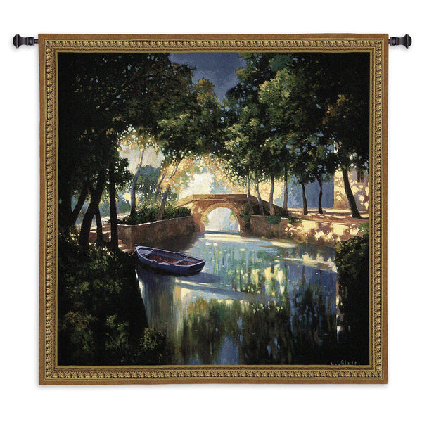 Blue Boat Tapestry Wall Hanging