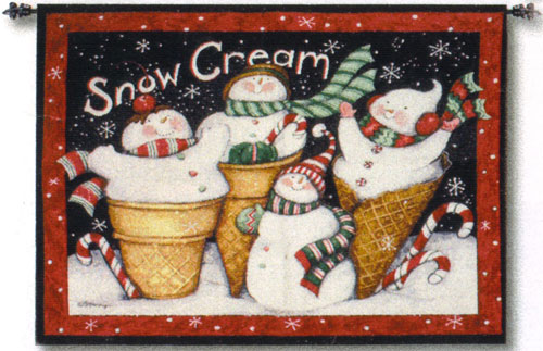 Snow Cream Christmas Fine Art Tapestry