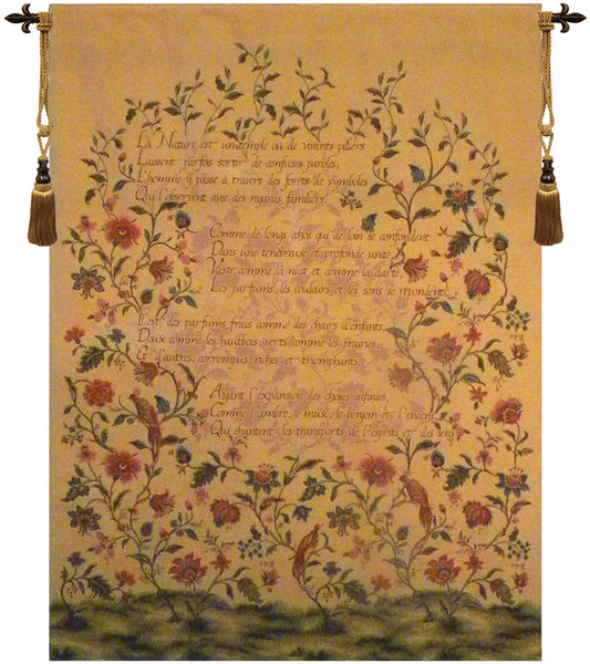 French Poem and Birds Tapestry Wall Hanging