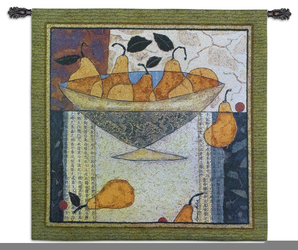 Asian Pear in Bowl Tapestry Wall Hanging