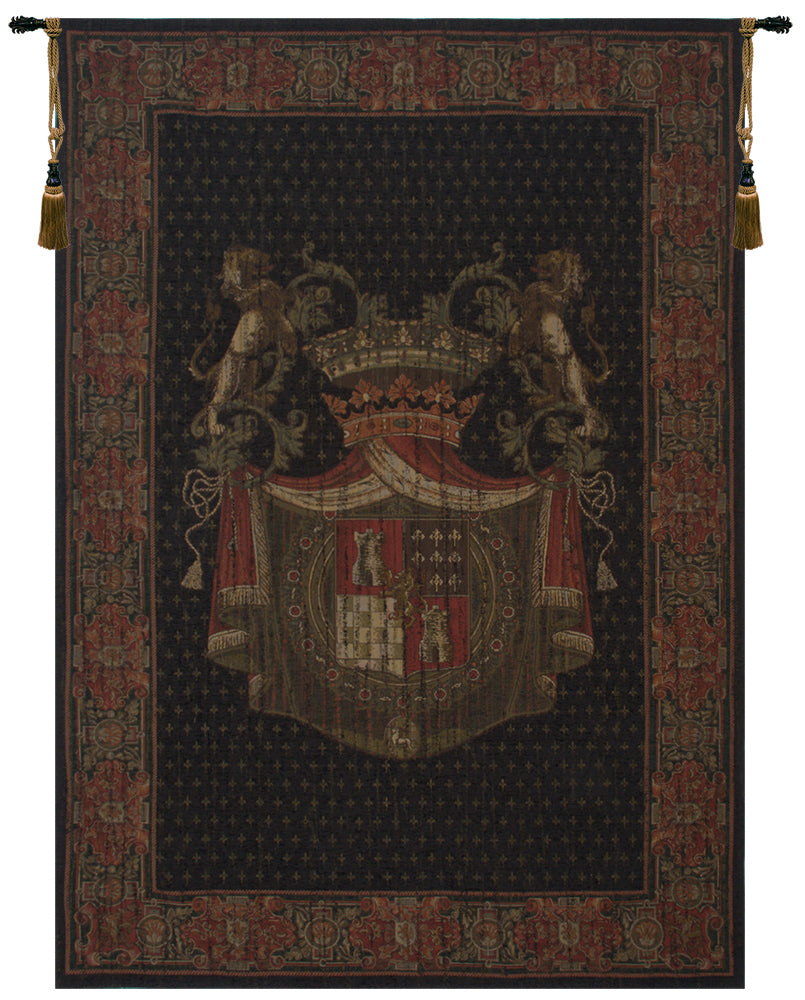 Blason Tours Vertical Black Tapestry Wall Hanging