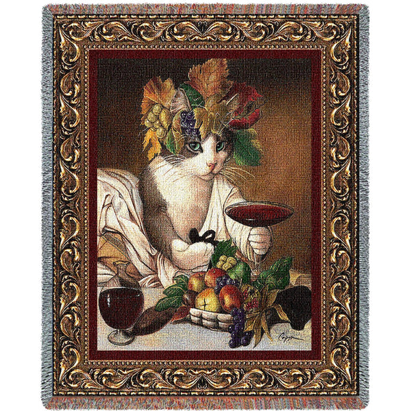 Bacchus Cat (Cats) Tapestry Throw