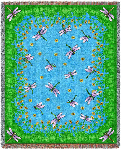 Dancing Dragonflies (Nature) Tapestry Throw