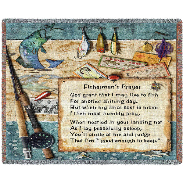 Fisherman and Prayer Lodge Tapestry Throw