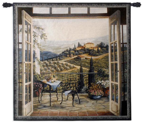 Balcony View of the Villa Tapestry Wall Hanging
