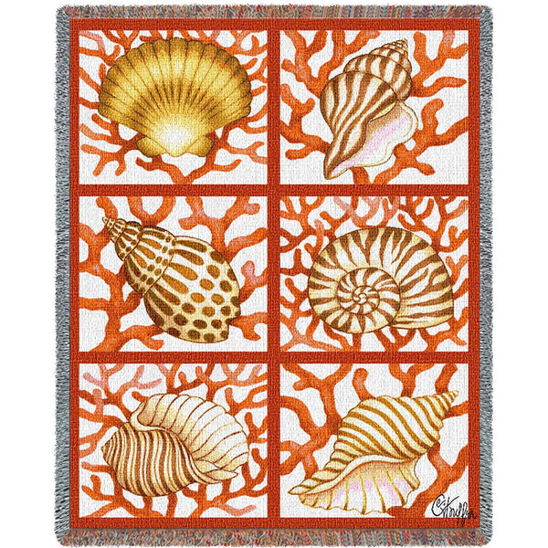 Shells & Coral (Coastal) Tapestry Throw