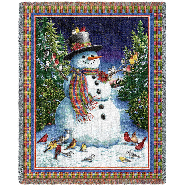 Plaid Snowman Holidays Tapestry Throw