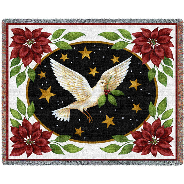 Dove and Poinsettias (Holidays) Tapestry Throw