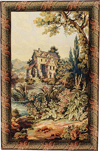 The Old Mill Vertical Tapestry Wall Hanging