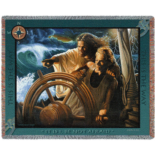 The Storm Pilot (Religious) Tapestry Throw