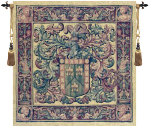 Crest and Fleur Tapestry Wall Hanging