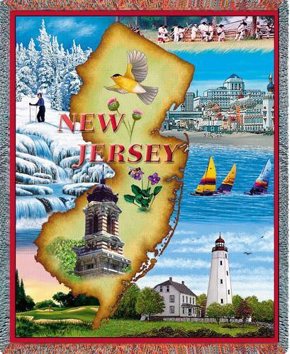 New Jersey (States) Tapestry Throw