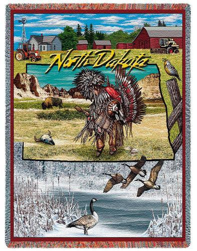 North Dakota (States) Tapestry Throw