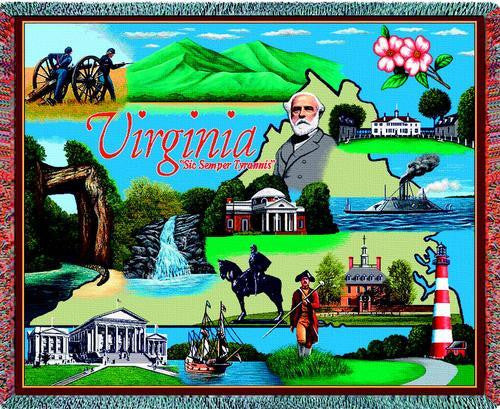 Virginia (States) Tapestry Throw