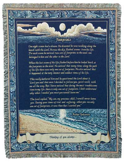 Footprints I (Words of Wisdom) Tapestry Throw