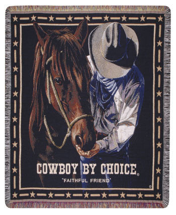 Faithful Friend Cowboy by Choice Tapestry Throw