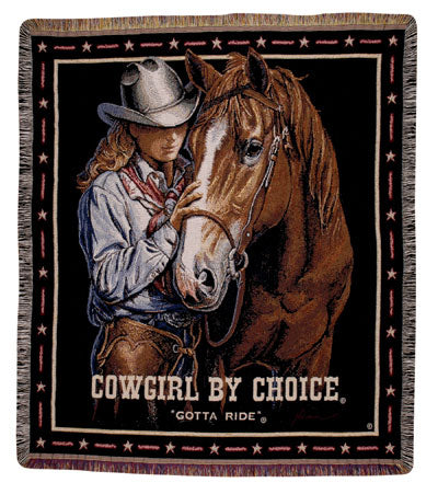 Cowgirl by Choice Tapestry Throw