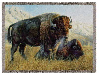 Resting Buffalo Tapestry Throw