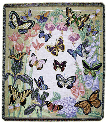 Butterflies Are Free Garden Party Tapestry Throw
