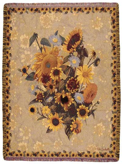 Sunflower Meadow Garden Party Tapestry Throw