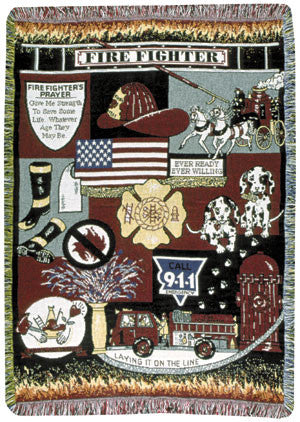 Firefighter (Profession) Tapestry Throw