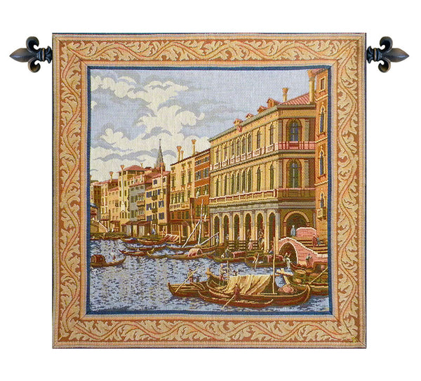 Shore on the Large Canal Italian Tapestry Wallhanging