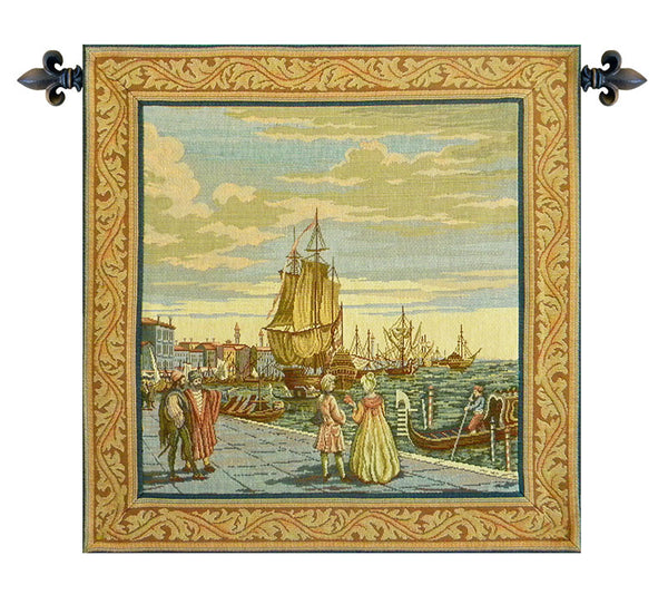 Lagoon Scene in Venice Italian Tapestry Wallhanging