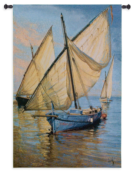 Violet Boat Tapestry Wall Hanging
