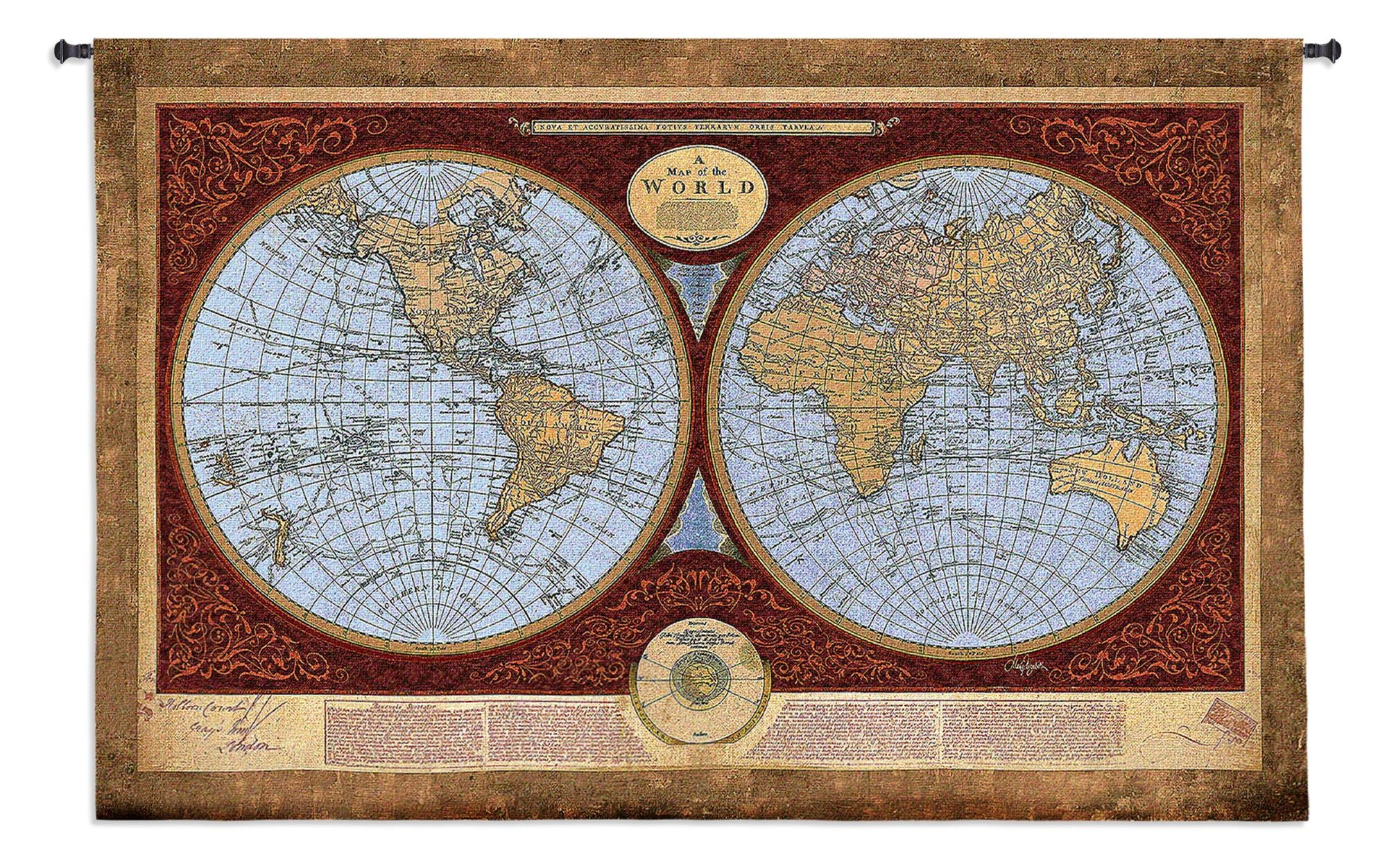 Map of the World Tapestry Wall Hanging