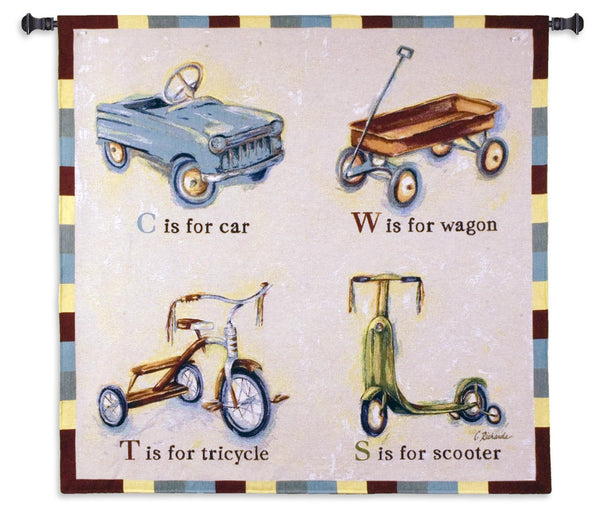 Car Wagon Tricycle Scooter Tapestry Wall Hanging